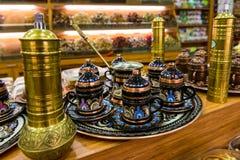 Herbaciane filiżanki w turecczyzna sklepie Obrazy Royalty Free