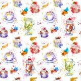 Herbacianego czasu przyjęcia wielostrzałowy wzór Babeczka torty, herbata, filiżanka Zdjęcia Stock