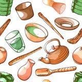 Herbacianego matcha bezszwowy wzór, aromatyczny napój w drewnianym pucharze ilustracja wektor