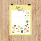 Herbacianego przyjęcia sztandar w doodle stylu lub zaproszenie ilustracja wektor