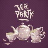 Herbacianego przyjęcia zaproszenia karta z garnkiem i filiżankami Zdjęcia Royalty Free