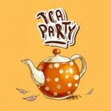 Herbacianego przyjęcia zaproszenia karta z garnkiem i filiżankami Obraz Stock