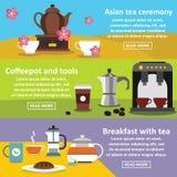 Herbacianego stolik do kawy sztandaru horyzontalny set, mieszkanie styl ilustracja wektor
