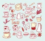 Herbaciani doodle nakreślenia elementy Ręka rysująca wektorowa ilustracja Fotografia Royalty Free