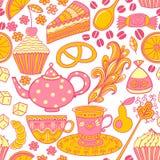 Herbaciany bezszwowy doodle teatime tło Torty świętować a royalty ilustracja