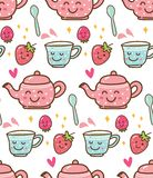 Herbaciany czas z truskawką w kawaii stylu tle ilustracji