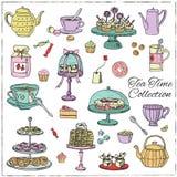 Herbaciany czasu doodle set nakreślenie Zdjęcia Royalty Free