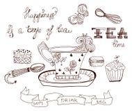 Herbaciany czasu doodle tło Zdjęcia Royalty Free