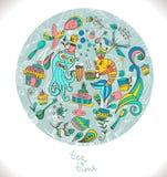 Herbaciany czasu tło, doodle ilustracja Zdjęcia Royalty Free