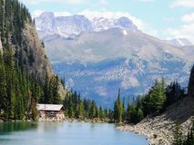 Herbaciany dom Przegląda wycieczkować wokoło Jeziornego Agnes blisko do Lakeview śladu, równina sześć lodowów, Jeziorny Agnes, Lu Fotografia Stock