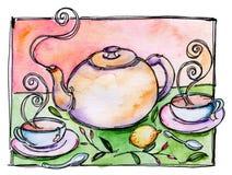 Herbaciany Garnek i Herbata w Filiżankach ilustracji