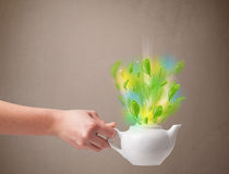 Herbaciany garnek z liśćmi i kolorowymi abstrakcjonistycznymi światłami Obraz Stock