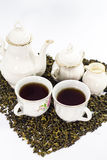 Herbaciany ustawiający na biały tle Zdjęcie Stock