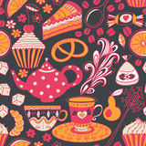 Herbaciany wektorowy bezszwowy doodle teatime tło Torty świętować a ilustracja wektor