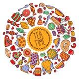 Herbacianych cukierków wektoru kawowa round granica Obraz Royalty Free