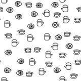 Herbacianych czasu Crockery elementów Bezszwowy Deseniowy wektor ilustracji