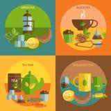 Herbacianych czasu 4 płaskich ikon kwadratowy skład Zdjęcia Royalty Free