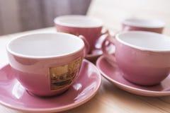 4 herbacianych kubków zamkniętego up Zdjęcia Stock