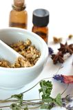 Herbal apothecary. Dried herbs and essential oils for remedy Stock Photos