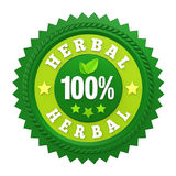 100% Herbal Badge Label Isolated. On white background. 3D render Stock Photos