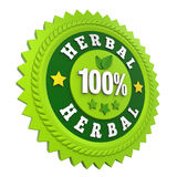 100% Herbal Badge Label Isolated. On white background. 3D render vector illustration