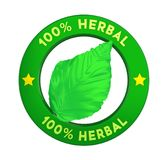 100% Herbal Badge Label Isolated. On white background. 3D render Royalty Free Stock Image