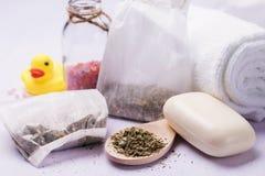 Herbal bath for baby, closeup stock image