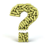 Herbal bio medicine pills or capsules as a question isolated on Royalty Free Stock Image
