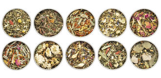 Herbal blend tea collection Royalty Free Stock Photo
