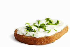Herbal bread with curd and chives Royalty Free Stock Photography