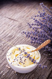 Herbal butter for breakfast with lavender flowers Royalty Free Stock Photos