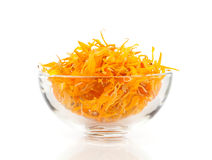 Herbal calendula in the glass bowl Royalty Free Stock Photography