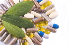 Free Herbal Capsules And Herbal Leaves Stock Photography - 84735562