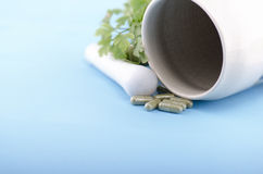 HERBAL CAPSULES CLOSE UP Royalty Free Stock Photos