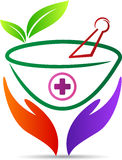 Herbal care logo. A vector drawing represents herbal care logo design royalty free illustration