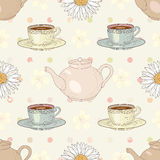 Herbal chamomile tea party seamless pattern Stock Photos