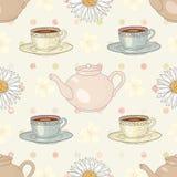 Herbal chamomile tea party seamless pattern Stock Photos