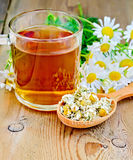 Herbal chamomile tea in spoon with mug on board Stock Photography