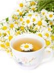 Herbal chamomile tea on white Stock Images