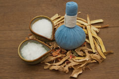 Herbal compress ball for spa aroma Stock Photos