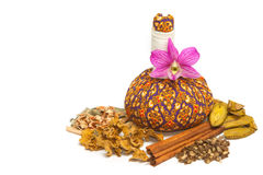 Herbal compress ball for spa aroma treatment Royalty Free Stock Image