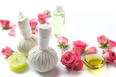 Herbal compress balls for spa treatment with rose flower Royalty Free Stock Image