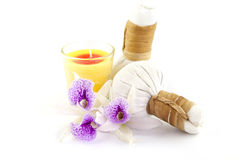 Herbal compress with candles Stock Photography