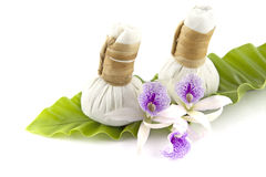 Herbal compress on leaf Royalty Free Stock Photography