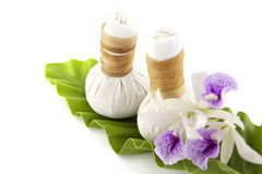 Herbal compress with orchid flower Stock Images