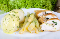 Herbal Cordon Bleu with Asparagus Stock Photography
