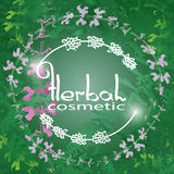 Herbal Cosmetic theme vector illustration with  herbs and flowers. Royalty Free Stock Images