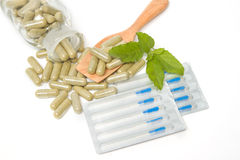Herbal drug capsules  with Acupuncture needles Royalty Free Stock Image
