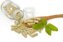 Herbal drug capsules in wooden spoon Royalty Free Stock Photos