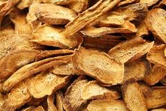 Herbal , dry burdock root Royalty Free Stock Images
